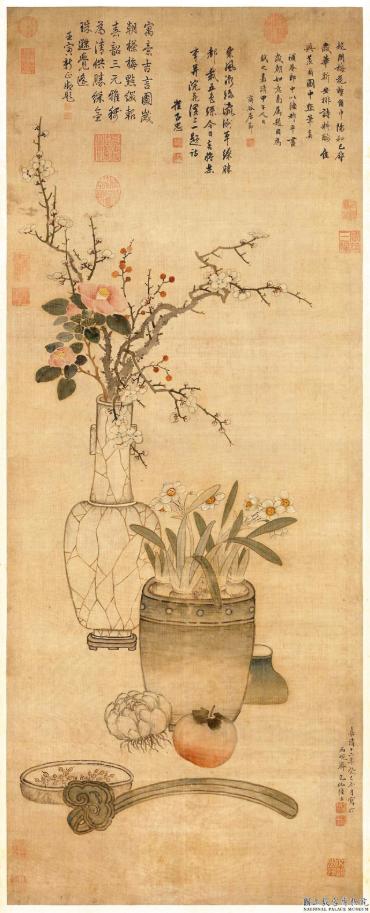 明 陸治歲朝圖歲末新年之際家中以花、竹、橘、荔枝取吉兆。 圖/故宮博物院提供