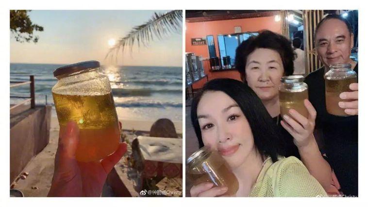 鐘麗緹帶全家到蘇美島進行排毒之旅。圖取自鐘麗緹微博