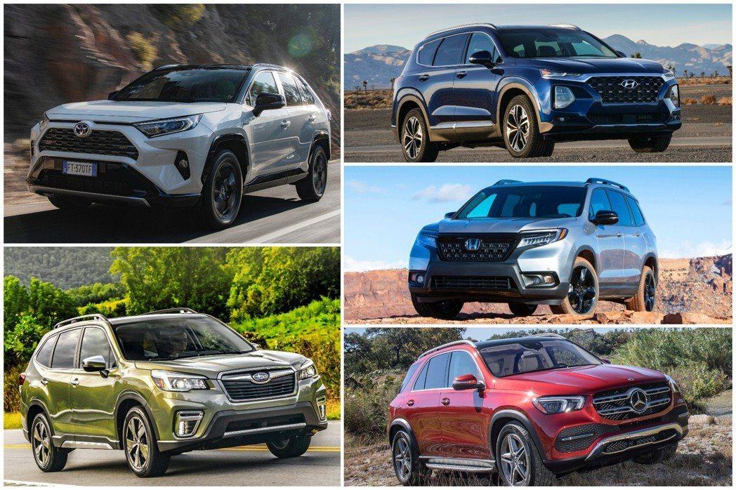 2018年有相當多的休旅車迎來大改款或小改款式樣。 摘自Toyota、Subar...