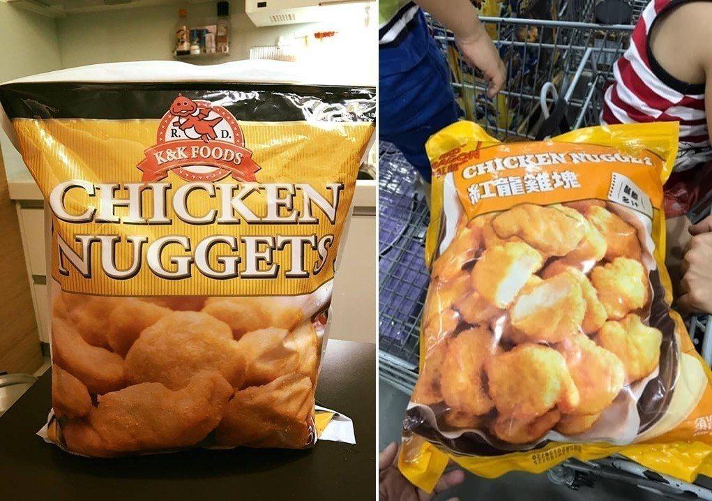 有網友認為紅龍雞塊換包裝後口感大不如前,圖左為舊版包裝。 圖片來源/【Costc...