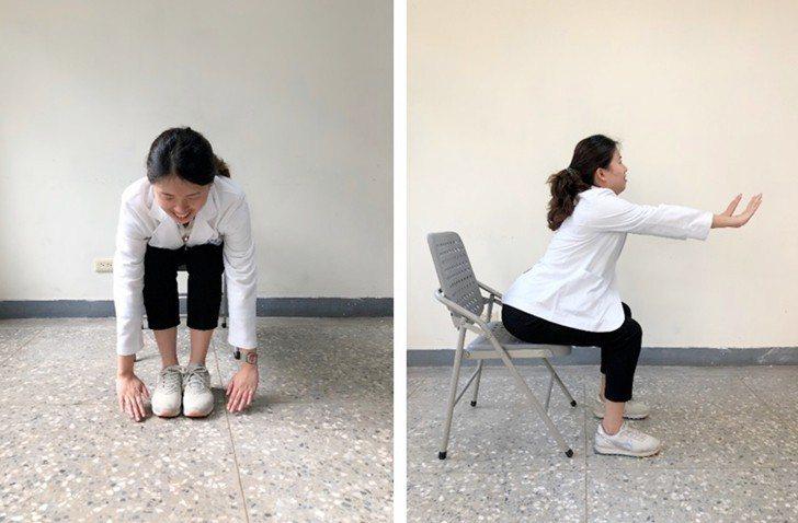 5.雙腳併攏,身體向前彎,前胸貼近大腿,雙手盡量向地板靠近。此時,腰部要打平,雙...
