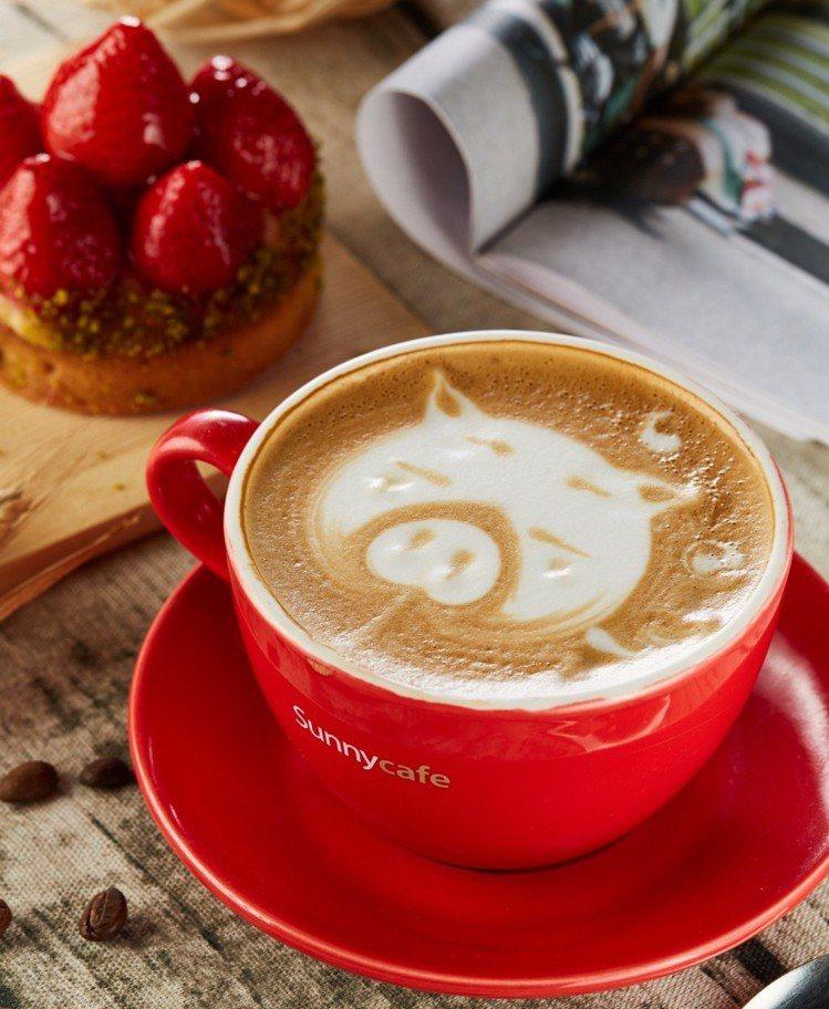 台北王朝大酒店旗下咖啡廳SUNNY CAFE推出金豬造型拿鐵,胖嘟嘟的小豬拉花超...