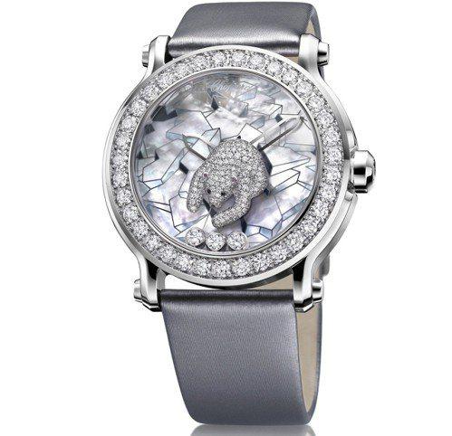 動物世界系列北極熊腕表,18K白金鑲鑽表殼、珍珠母貝面盤,鑲嵌總重3.95克拉鑽...