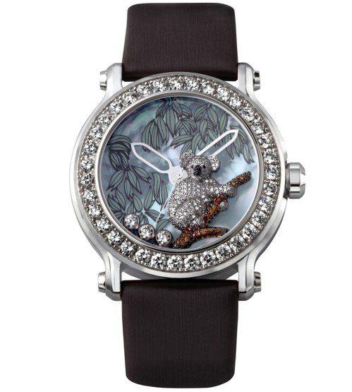 動物世界系列無尾熊腕表,18K白金鑲鑽表殼、珍珠母貝面盤,鑲嵌總重4.25克拉鑽...
