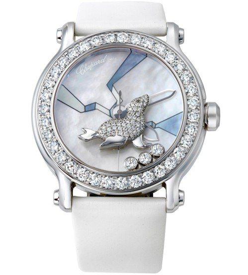 動物世界系列海豹腕表,18K白金鑲鑽表殼、珍珠母貝面盤,鑲嵌總重4.2克拉鑽石與...