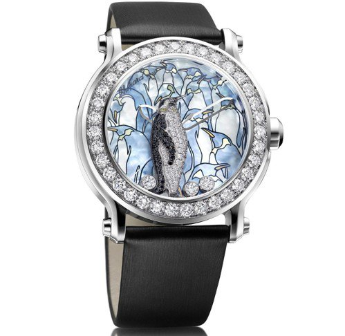 動物世界系列企鵝腕表,18K白金鑲鑽表殼、珍珠母貝面盤,鑲嵌總重4.13克拉鑽石...