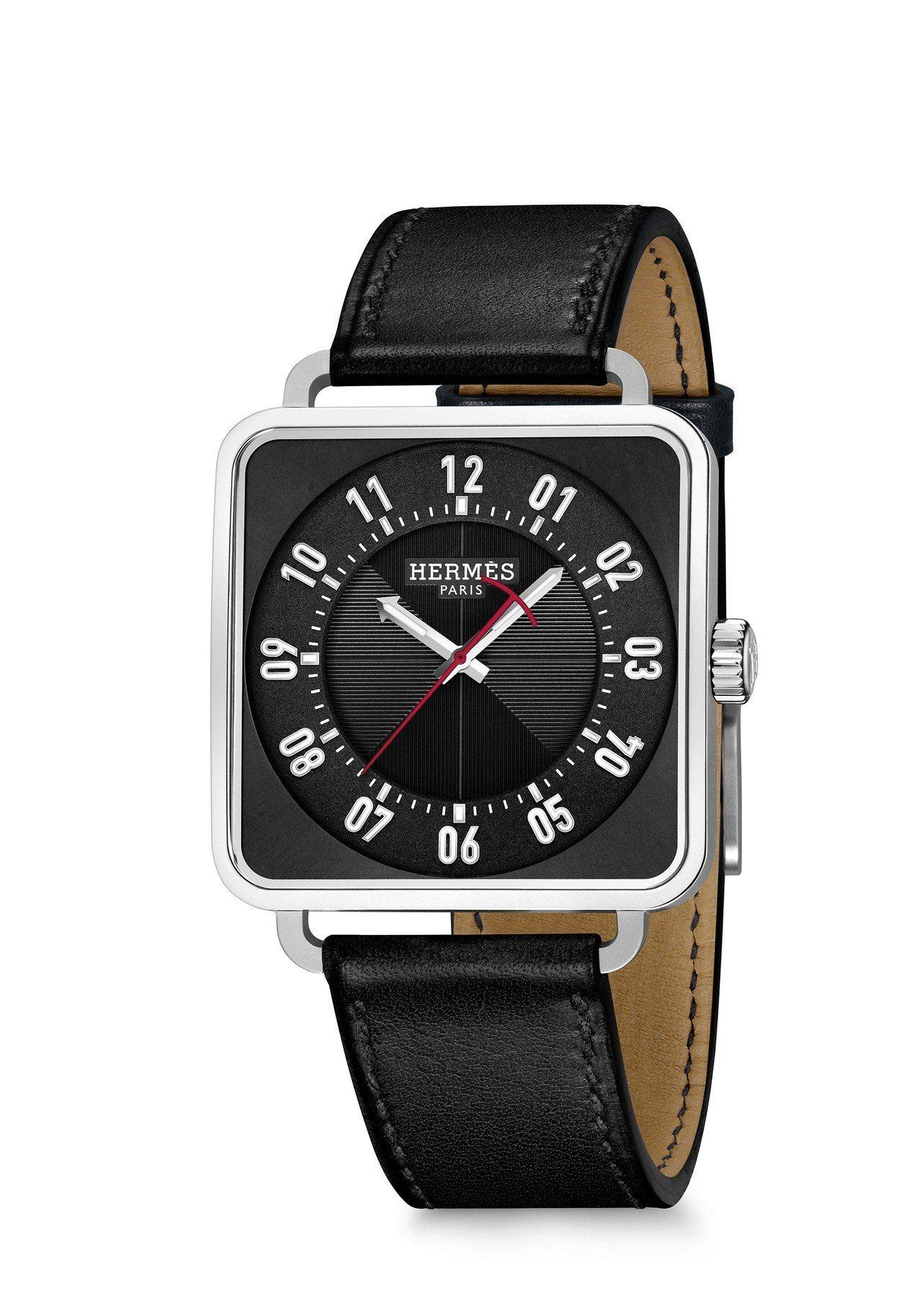 愛馬仕Carré H 精鋼自動上鍊腕表黑色款,25萬6,500元。圖/愛馬仕提供