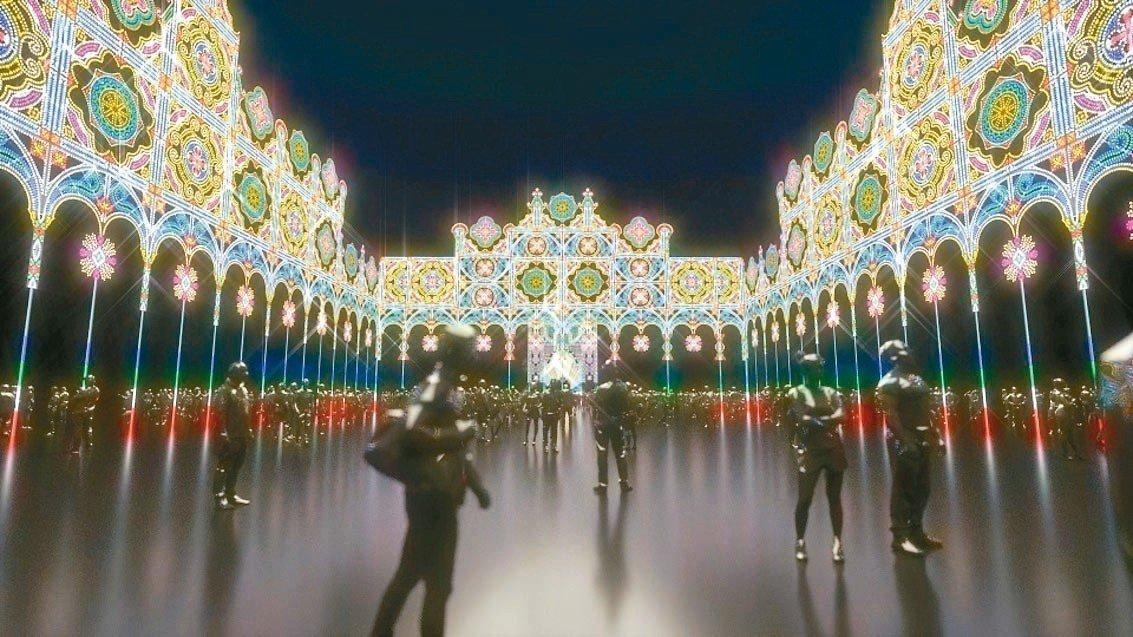 位於北市府前市民廣場的光雕廣場呈ㄇ字型,周長136公尺,高度22公尺。 圖/北市...