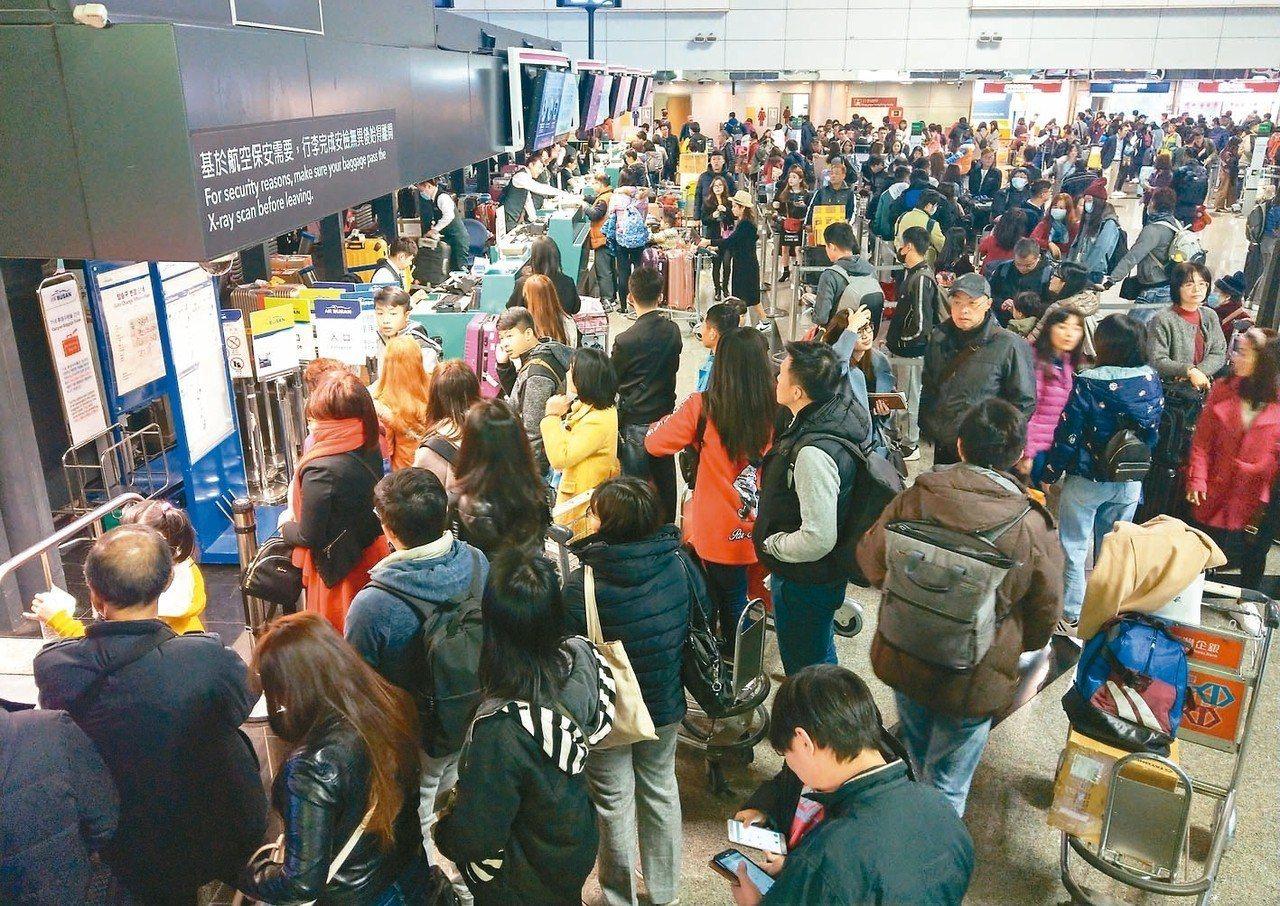 春節假期到了,許多民眾出國旅遊。 記者鄭超文/攝影