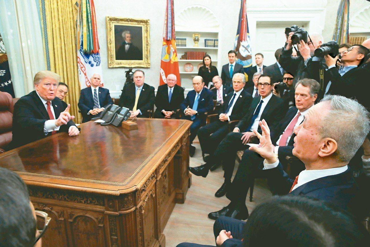 美國總統川普(左)在白宮會見中國大陸副總理劉鶴(右),談到增購美國黃豆數量時,劉...