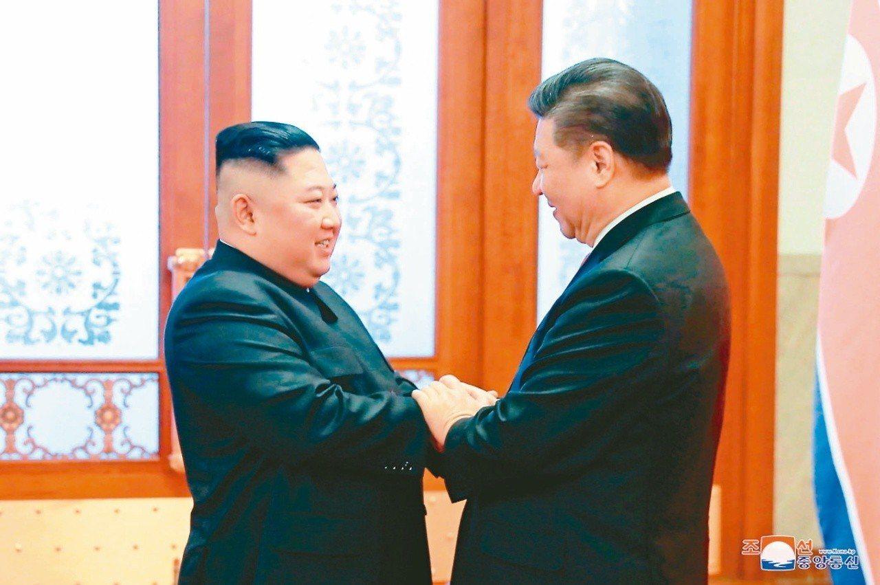 中共總書記習近平(右)與北韓領導人金正恩一月八日在北京舉行會談,習對「川金二會」...