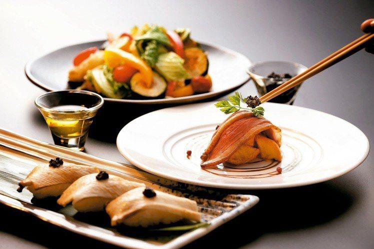 欣葉新菜當中,包括有白松露杏鮑菇握壽司、低溫野趣風櫻桃鴨、白松露富溫菜等料理。圖...