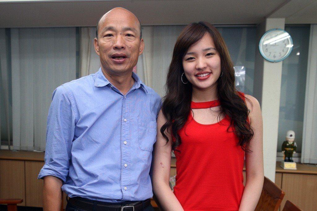 高市長韓國瑜與女兒韓冰(右)。圖/聯合報系資料照片
