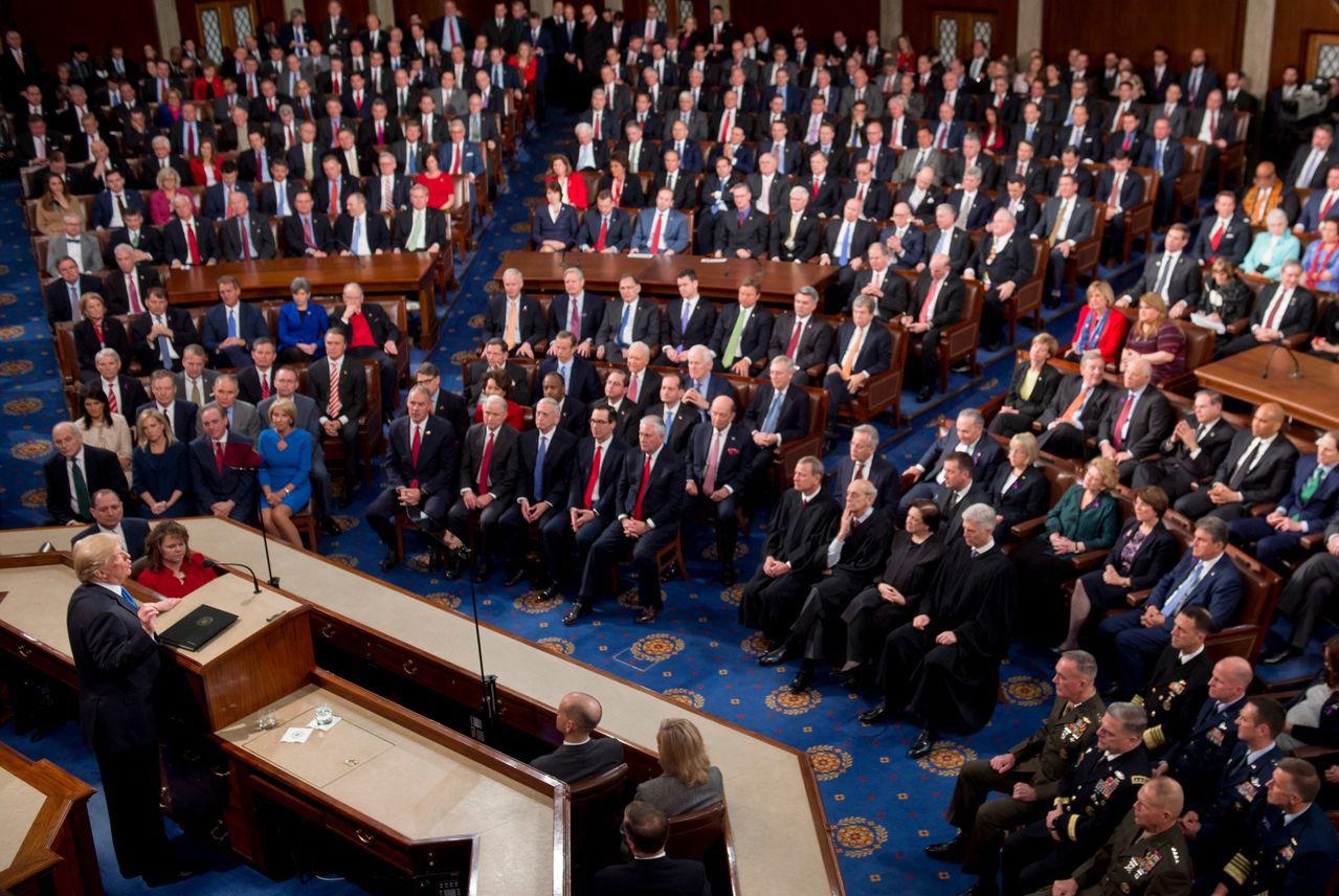 去年一月底,川普總統在國會發表國情咨文。(美聯社)