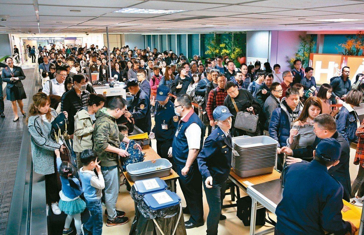 桃園機場昨天全面X光機手提行李檢查,尖峰時刻約九百多人進防檢站。記者鄭超文/攝影