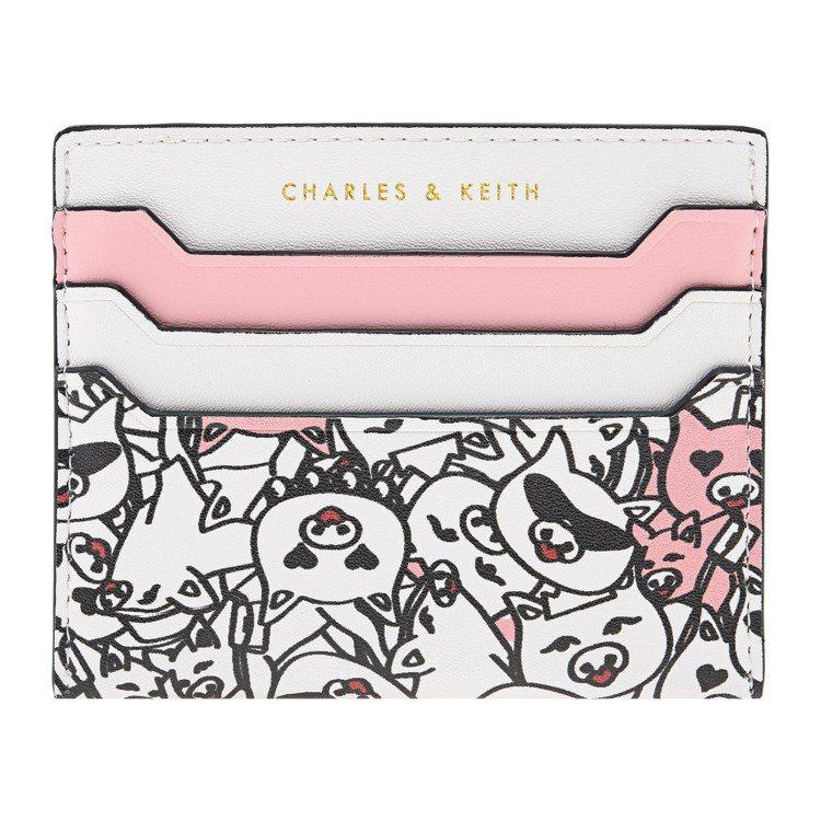 CHARLES & KEITH粉紅小豬卡片夾490元。圖/CHARLES & K...