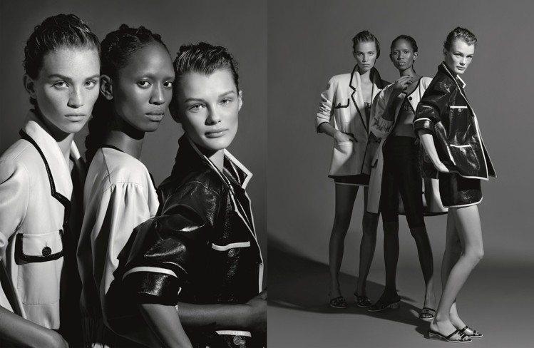 彩色與黑白畫面穿插呈現,也讓人感受到此系列服裝的百變風格。圖/香奈兒提供