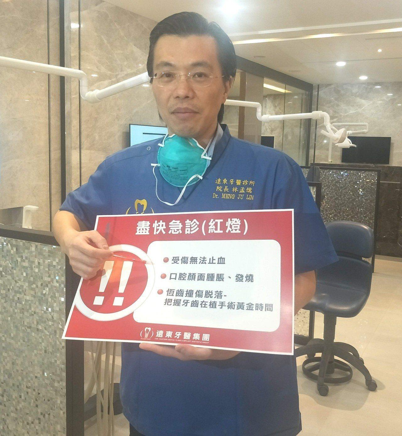 遠東牙醫集團總院長林孟儒以紅黃綠區分牙疾不同症狀教導患者初步判斷第一時間是否須就...