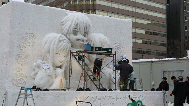 動漫人物每年都是札幌雪祭的熱門主題。東京記者蔡佩芳/攝影