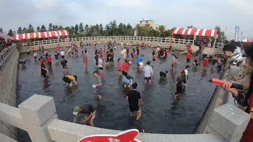 麥寮鄉今天推出摸蛤仔,吸引大批遊客參加,每個人捲起褲管下水像在淘金,賣力撈拾水中...