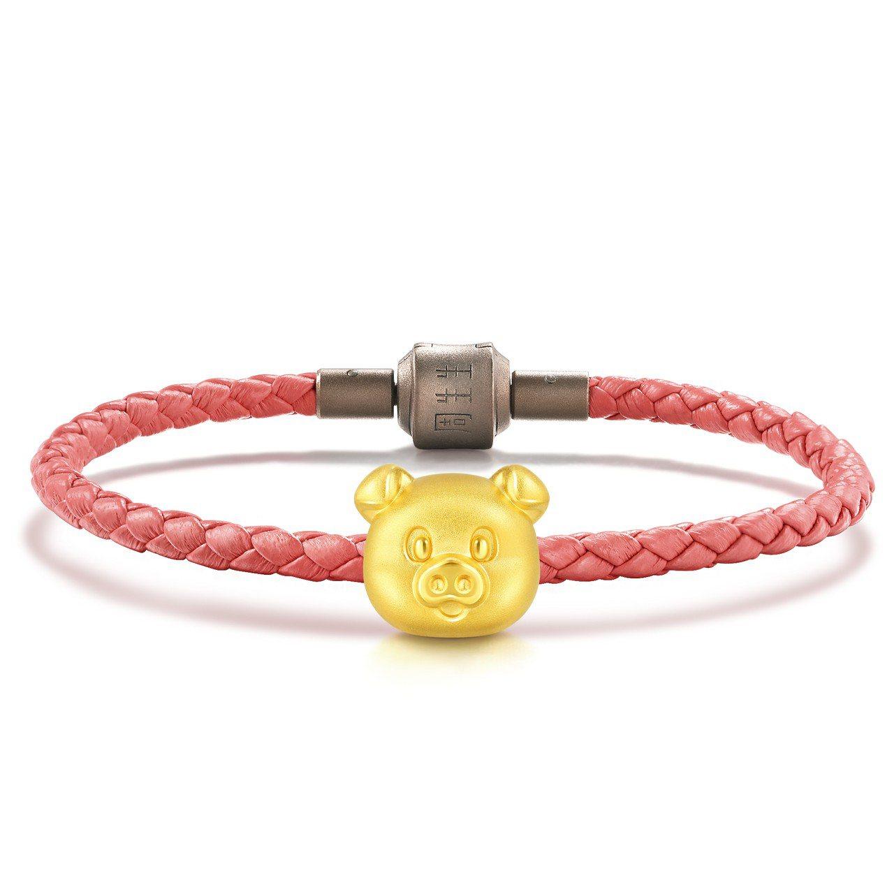 點睛品Charme可愛系列足金串飾附皮繩,4,800元。圖/點睛品提供