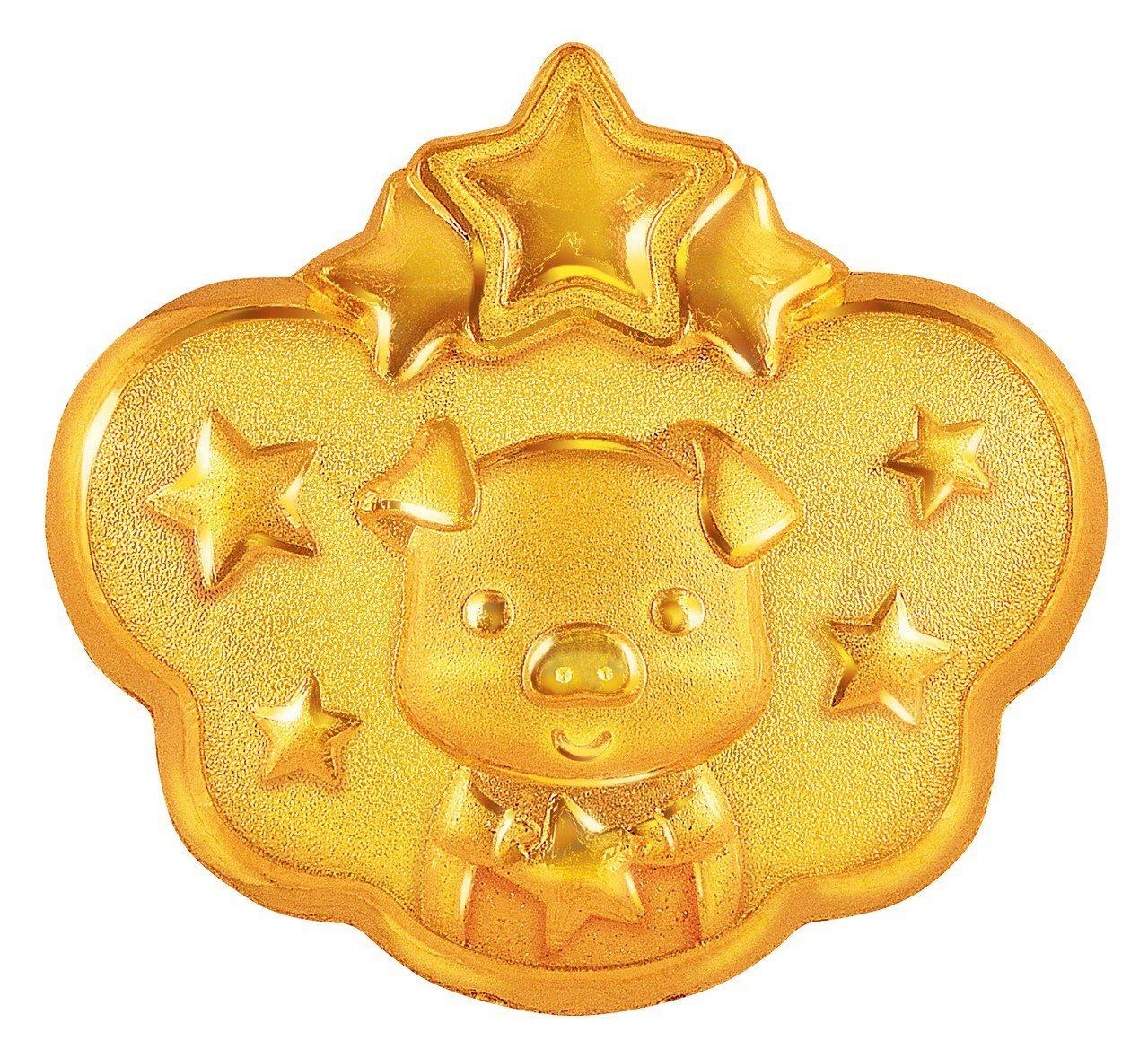 周大福「吉星高照」黃金嬰兒鎖包約0.17兩起,價格店洽。圖/周大福提供