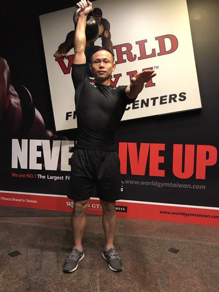 World Gym專業訓練官示範壺鈴Clean And Press的步驟3。圖/...