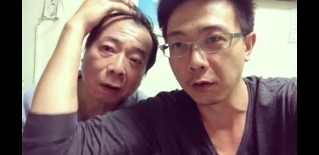 廖峻(左)與廖錦德父子向網友拜年。圖/截圖自臉書