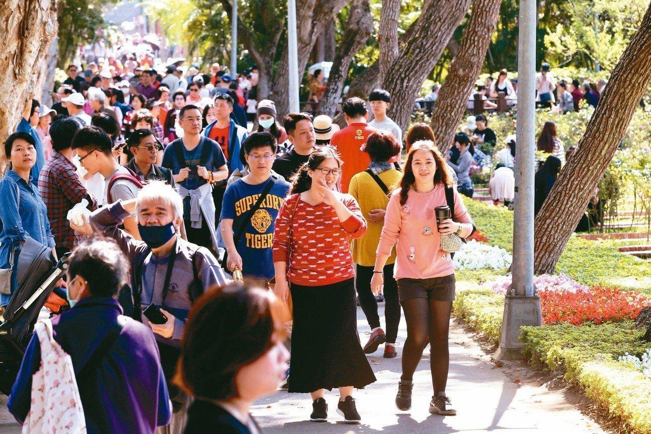 昨天全台各地晴朗炎熱,高溫紛紛飆破30℃,台北士林官邸內許多民眾穿著短袖上衣外出...