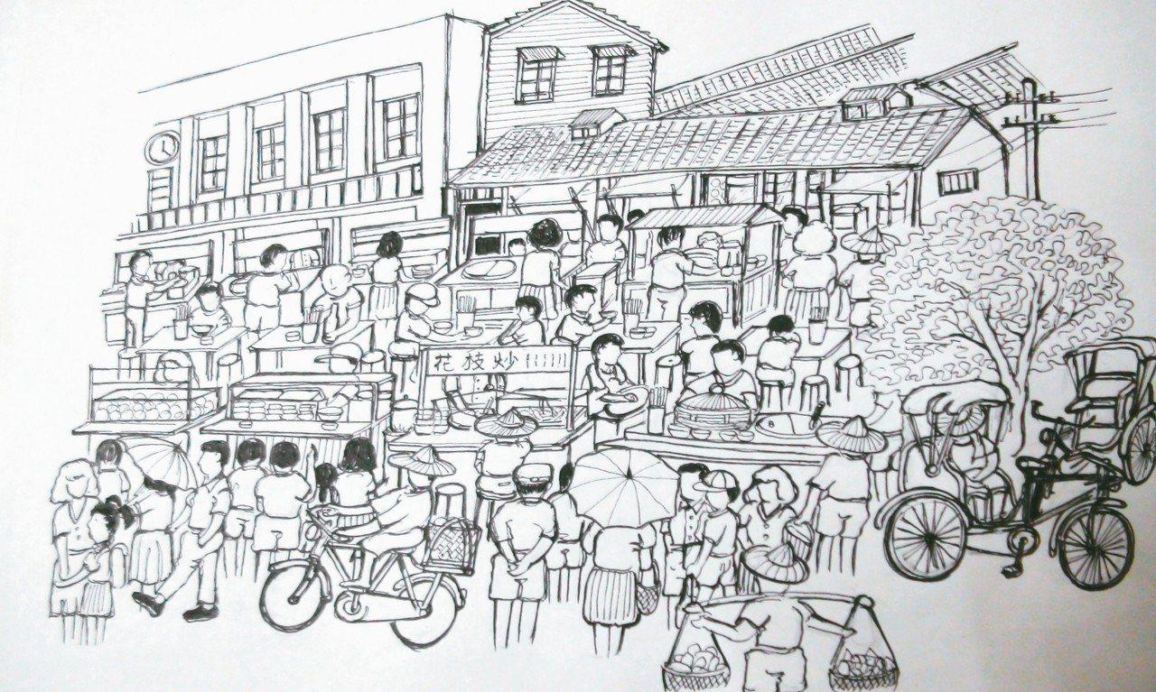吳嘉文手繪30多年前民雄市場前的小吃攤熱鬧情景。 記者謝恩得/攝影