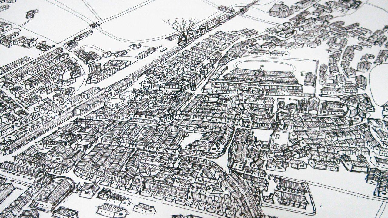 吳嘉文這一年多來又陸續將民國70年代的店家、攤販情景畫出來,完全憑記憶讓民雄街區...