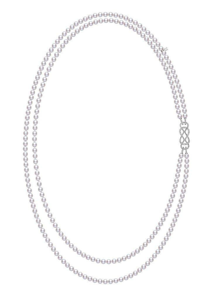 MIKIMOTO Ruyi Collection日本Akoya珍珠鑽石扣飾雙排式...