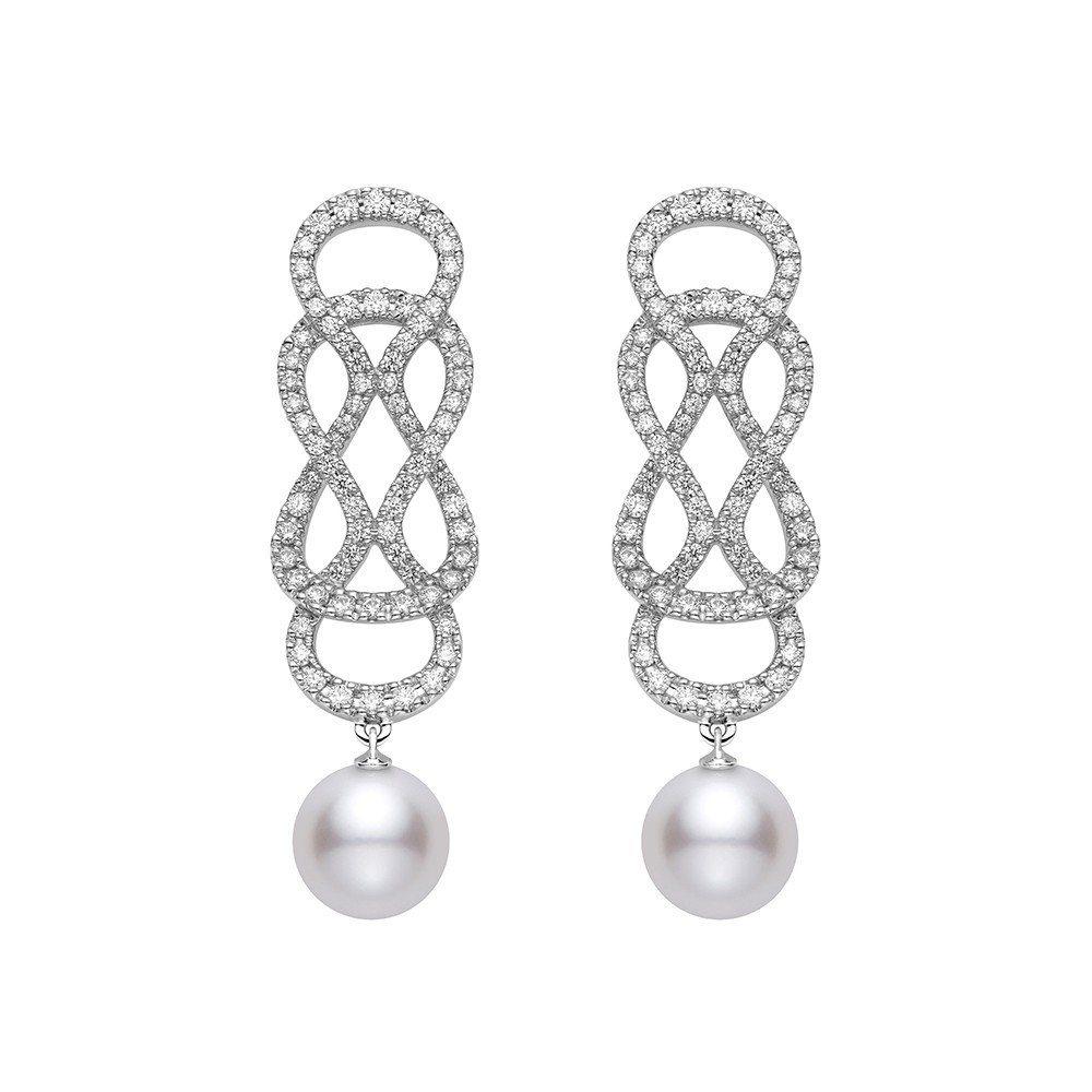 迪麗熱巴配戴的MIKIMOTO Ruyi Collection南洋珍珠鑽石耳環,...