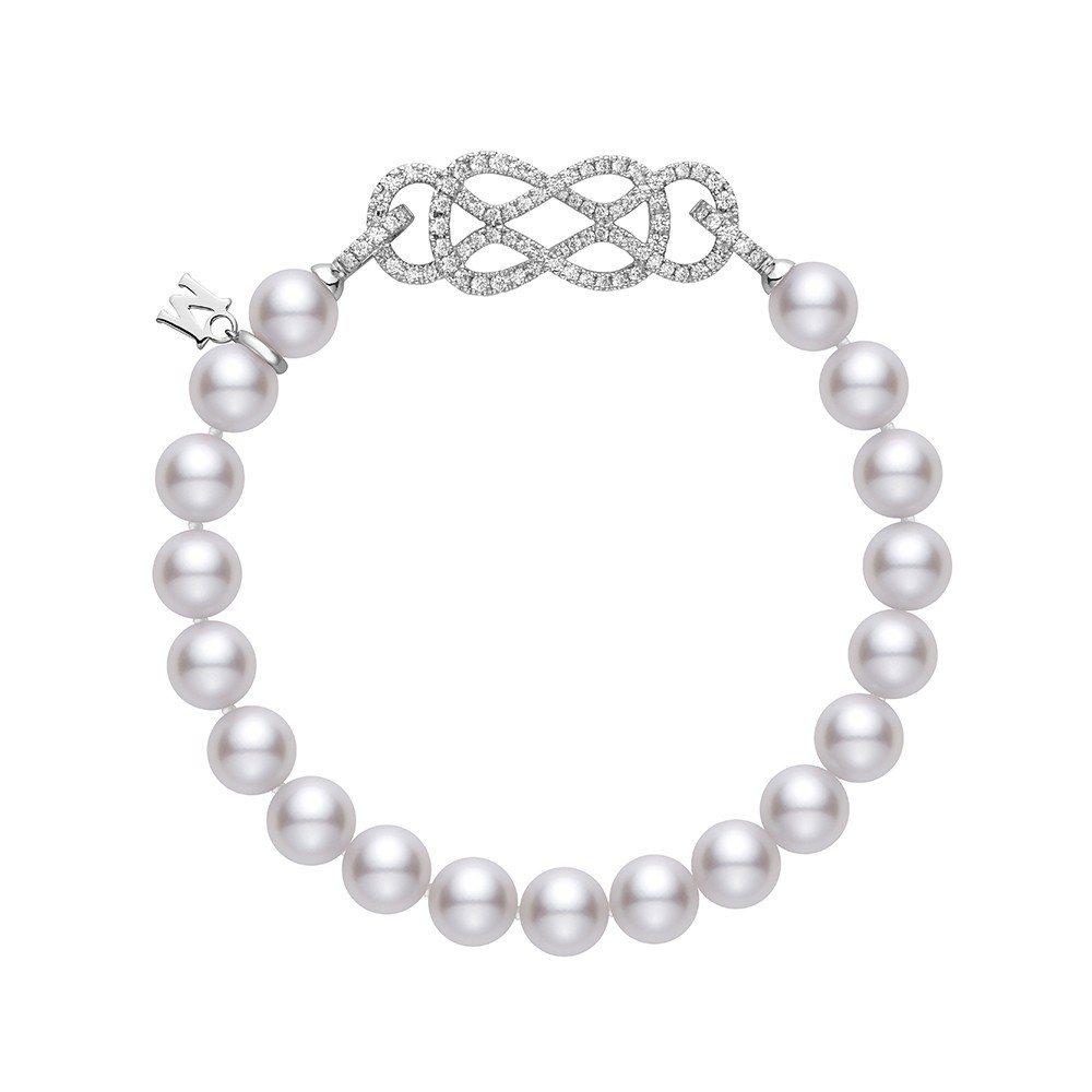 MIKIMOTO Ruyi Collection日本Akoya珍珠鑽石扣飾手鍊,...