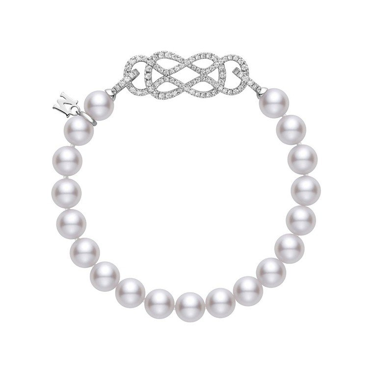 MIKIMOTO Ruyi Collection日本Akoya珍珠鑽石扣飾手鍊,...