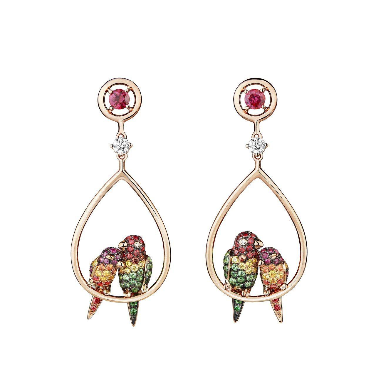 Ella 配戴的寶詩龍NURI鸚鵡耳環,86萬8,000元。圖/寶詩龍提供