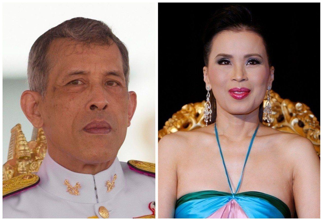 泰王瓦吉拉隆功(左)8日深夜發出聲明,譴責胞姊烏汶叻公主(右)接受被在野黨提名為...