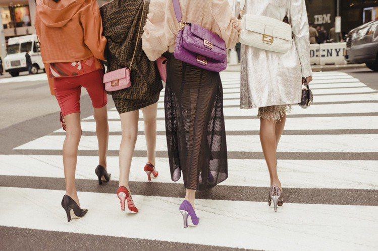 FENDI以Baguette包款為主題在紐約拍攝形象廣告。圖/FENDI提供