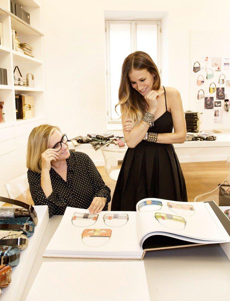 莎拉潔西卡派克也參與了Baguette包款的形象廣告拍攝。圖/FENDI提供