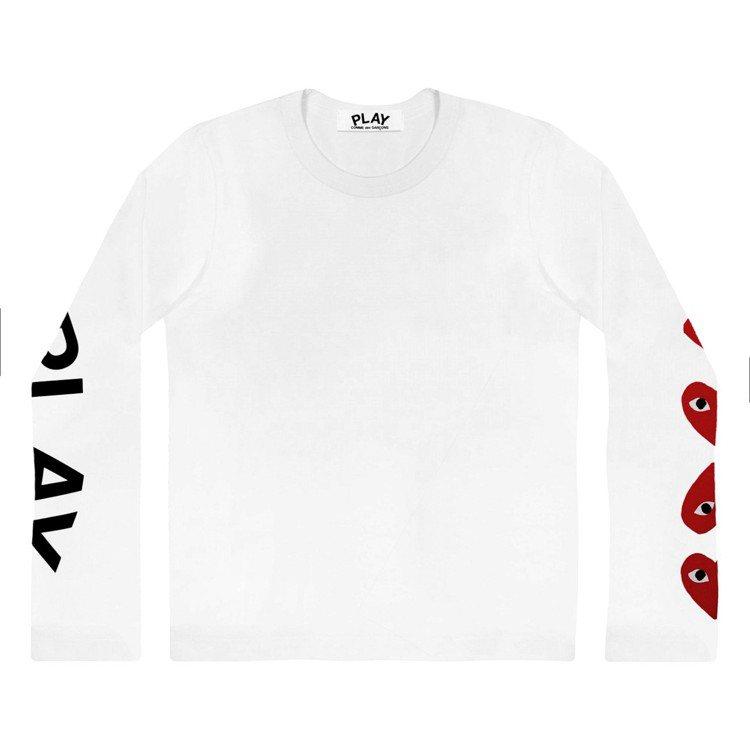 CDG PLAY系列白色「多心」長袖T恤,4,200元(女款)。圖/團團提供
