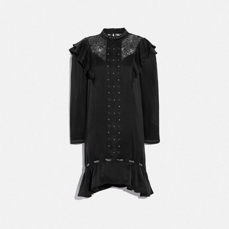 胸前蕾絲刺繡荷葉邊裙襬連身裙,23,800 元。圖/Coach提供
