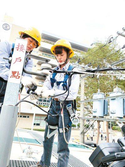 83年次的郭庭均(右)被稱為「台電學姐」,因搶眼的外型而爆紅,她從事配電線路維護...
