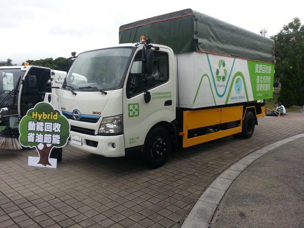 2018年各縣市環保局共計汰換205台資源回收車,全數採用日野300系列Hybr...