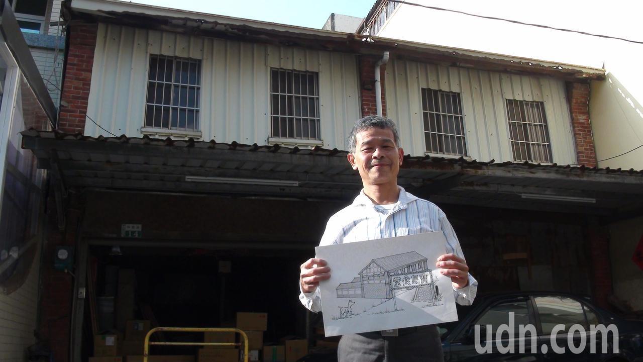 吳嘉文手繪近10個消失的店家和攤商圖。記者謝恩得/攝影