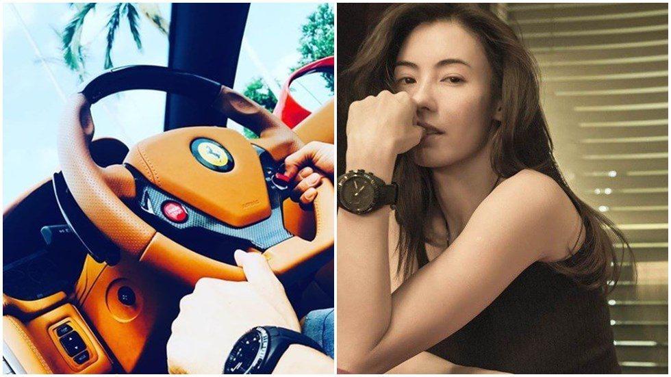 張柏芝曬出一雙開車的手,對方與她戴同款型手表。圖/摘自IG