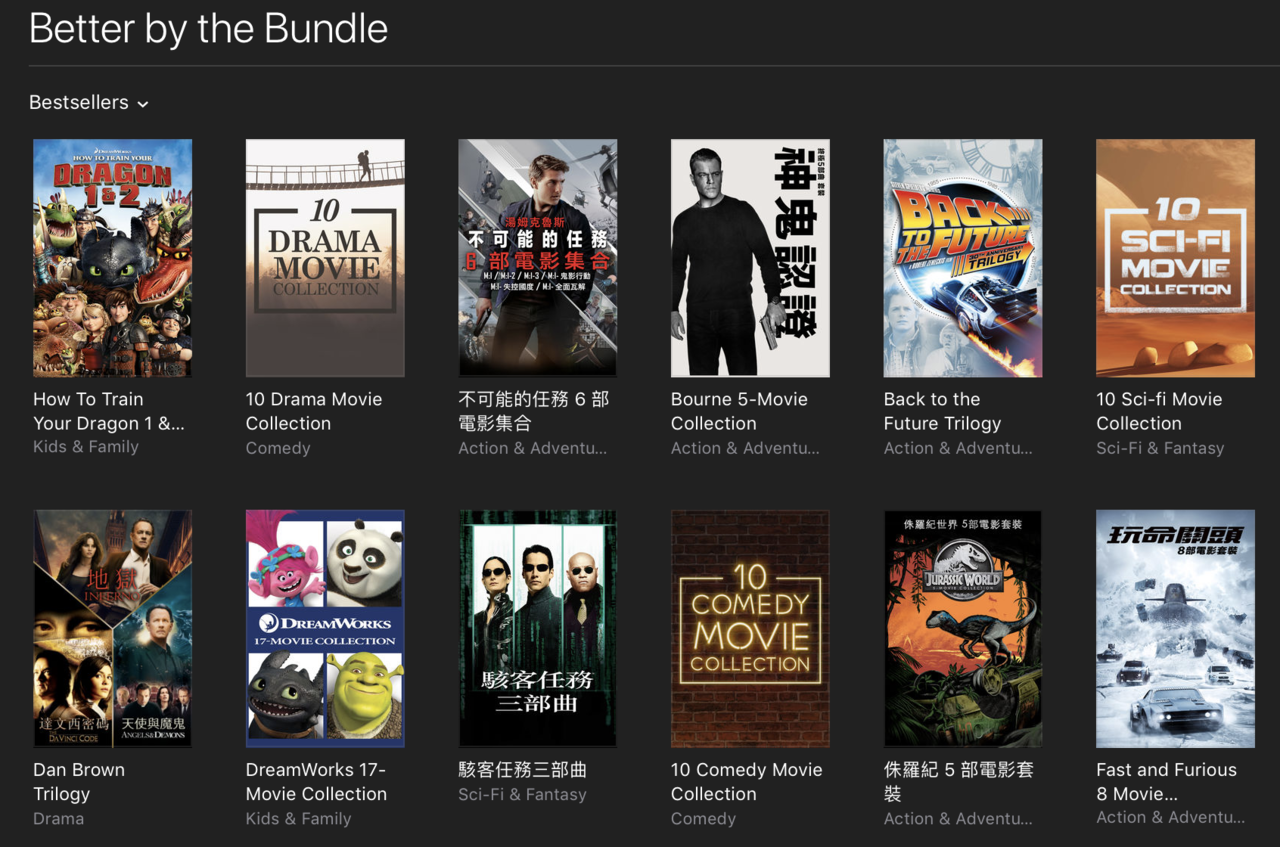 經典電影百看不厭,一次買齊全套更優惠。圖/摘自iTunes