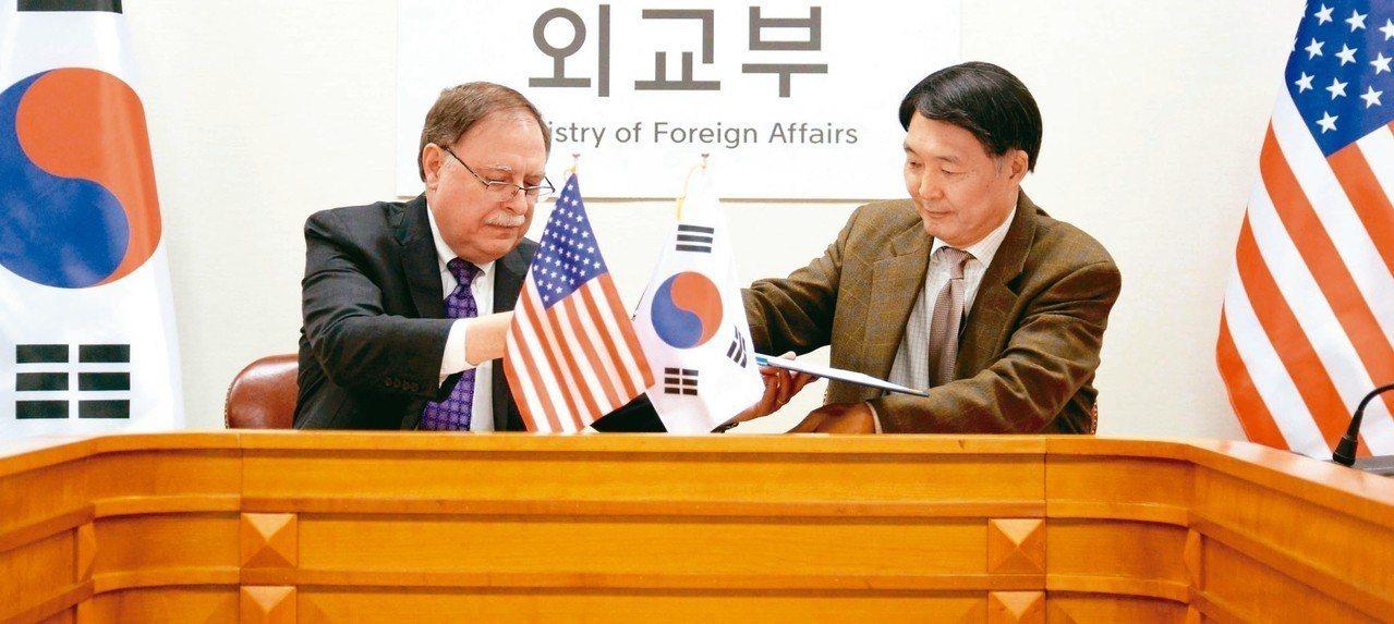 南韓談判代表張元三(右)和美國談判代表貝茲(左),十日在南韓外交部草簽防衛費分攤...