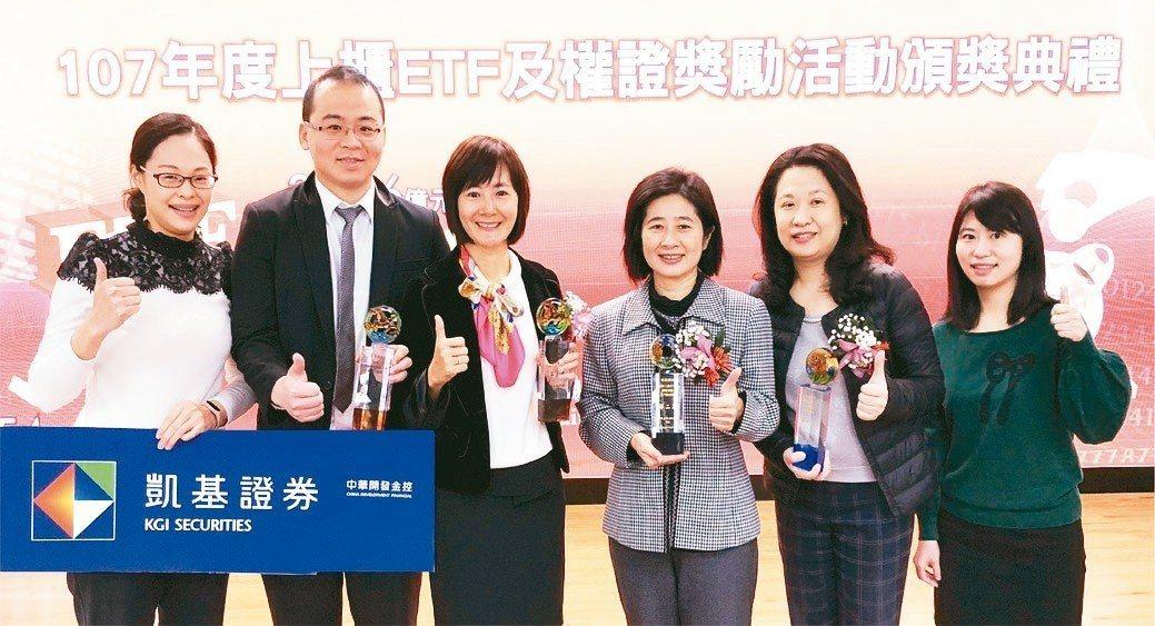 凱基證券優秀團隊榮獲櫃買中心ETF及權證競賽多項大獎。 凱基證券/提供
