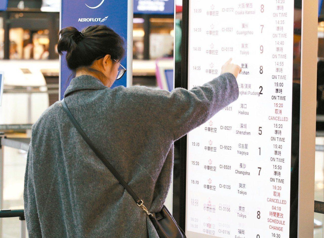 華航機師持續罷工,桃園機場預估今天有9個出境航班及13個入境航班,共22個航班取...