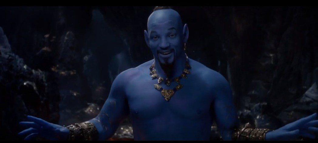 威爾史密斯在「阿拉丁」扮演神燈精靈。圖/翻攝自Youtube